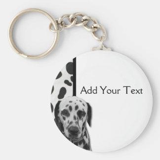 Svartvit Dotty Dalmatian Rund Nyckelring