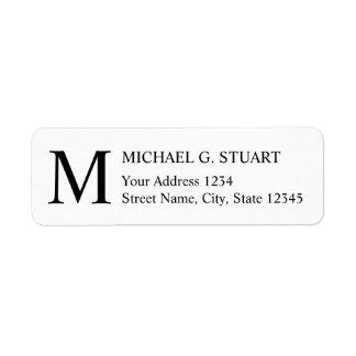 Svartvit elegant Monogram Returadress Etikett