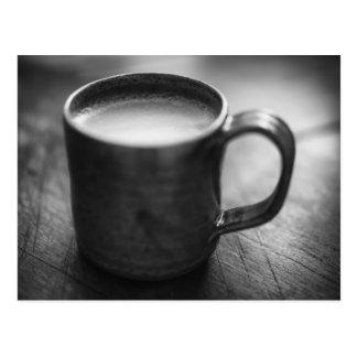 Svartvit espressokaffePostcard. Vykort