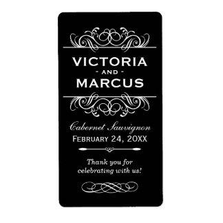 Svartvit favör för bröllopvinflaska fraktsedel