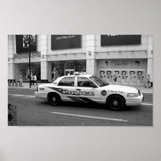 Svartvit fotografi för Toronto polisbil Poster
