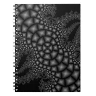 Svartvit fractalanteckningsbok anteckningsbok med spiral