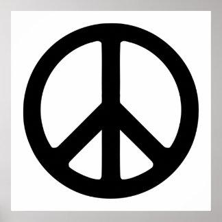 Svartvit fredstecken poster