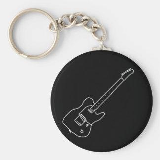 svartvit gitarr rund nyckelring