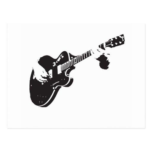 Svartvit gitarr vykort