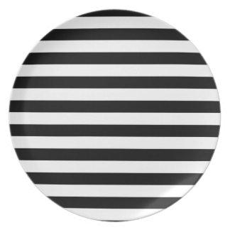 Svartvit görad randig design för rand | tallrik