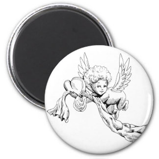 Svartvit gullig ängel med hjärta magnet