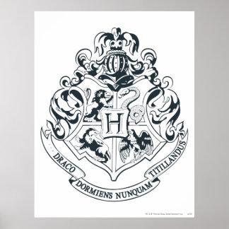 Svartvit Harry Potter | Hogwarts vapensköld - Poster