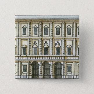 Svartvit illustration av facaden av 18th standard kanpp fyrkantig 5.1 cm