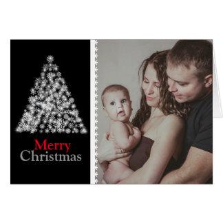 Svartvit julgran hälsningskort