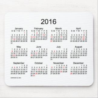 Svartvit kalender 2016 med helgdagar mus mattor