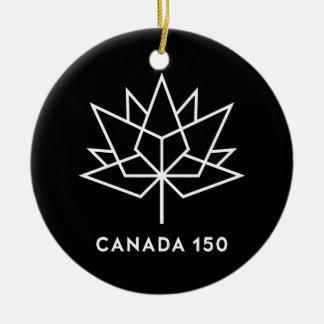 Svartvit Kanada 150 officielllogotyp - Julgransprydnad Keramik