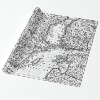 Svartvit karta av skandinaviengåvasjalen presentpapper