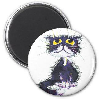 Svartvit katt magnet