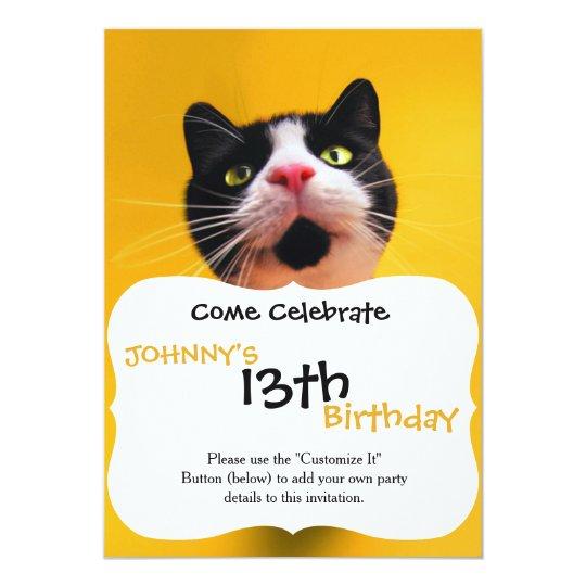 Svartvit katt-smoking katt-husdjur 12,7 x 17,8 cm inbjudningskort