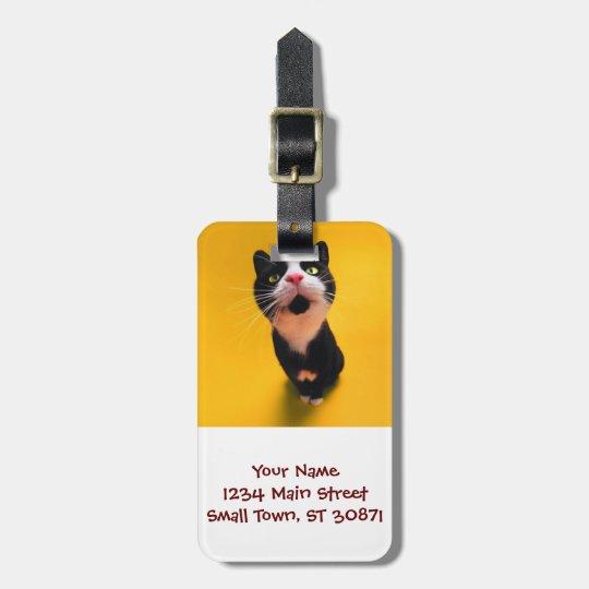 Svartvit katt-smoking katt-husdjur bagagebricka