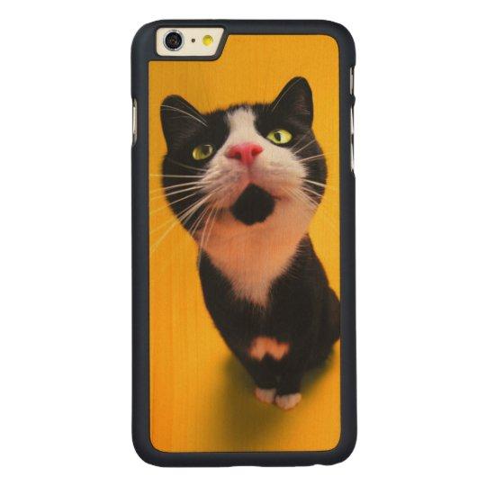 Svartvit katt-smoking katt-husdjur carved lönn iPhone 6 plus slim skal