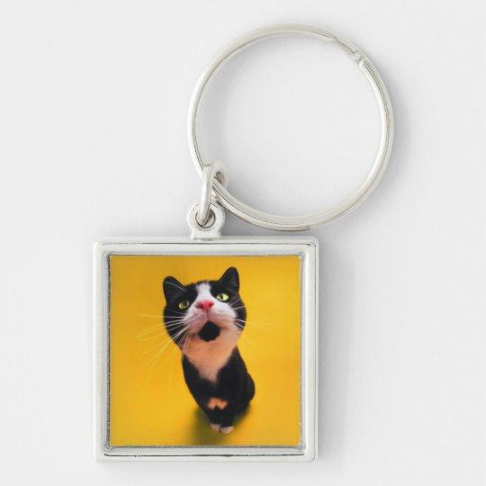 Svartvit katt-smoking katt-husdjur fyrkantig silverfärgad nyckelring