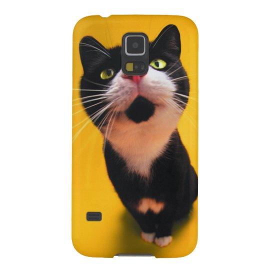 Svartvit katt-smoking katt-husdjur galaxy s5 fodral