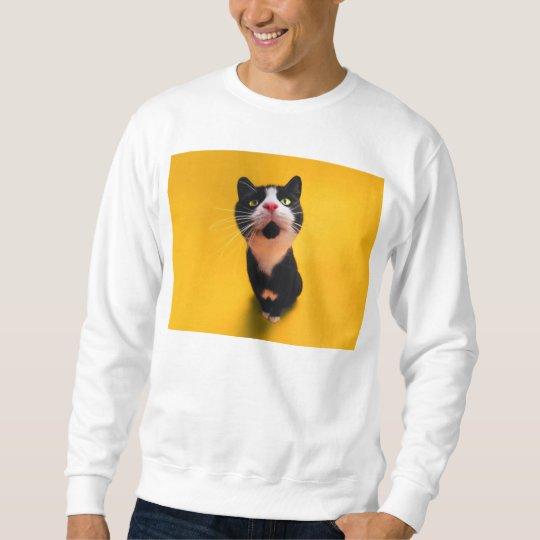 Svartvit katt-smoking katt-husdjur långärmad tröja