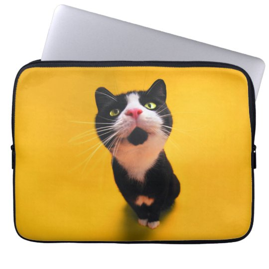 Svartvit katt-smoking katt-husdjur laptop sleeve