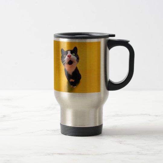 Svartvit katt-smoking katt-husdjur rostfritt stål resemugg