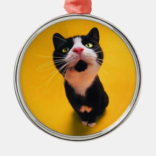 Svartvit katt-smoking katt-husdjur rund silverfärgad julgransprydnad