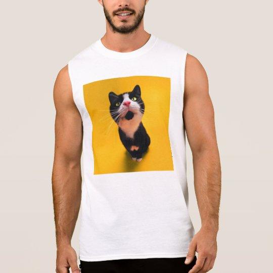 Svartvit katt-smoking katt-husdjur sleeveless t-shirt