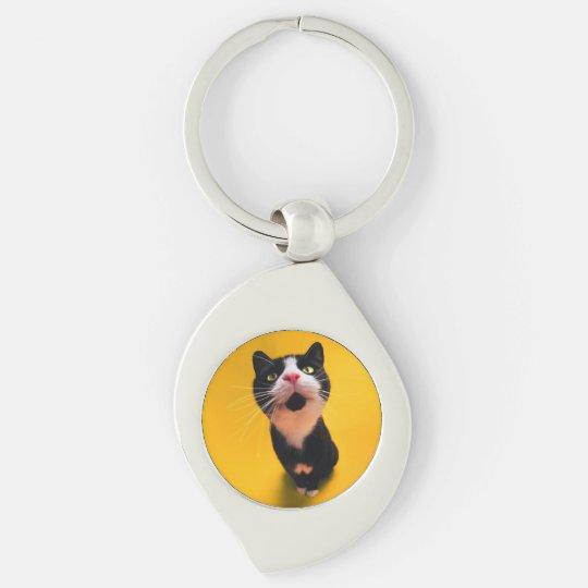Svartvit katt-smoking katt-husdjur swirl silverfärgad nyckelring