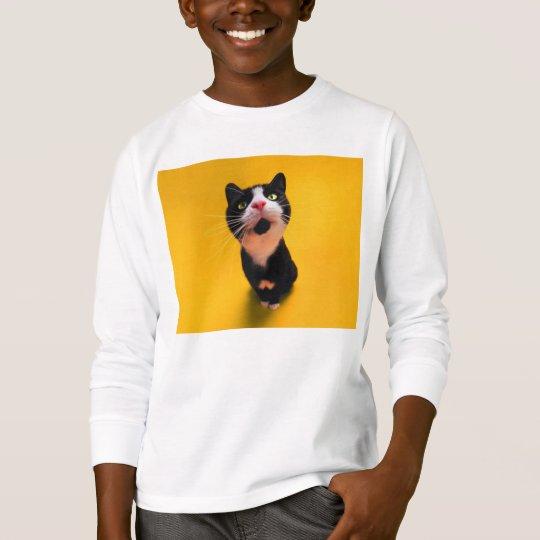 Svartvit katt-smoking katt-husdjur tee
