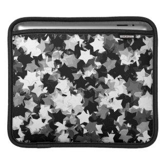 Svartvit Kawaii stjärnabakgrund iPad Sleeve