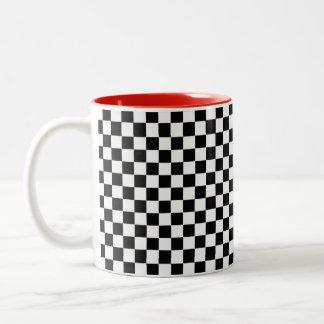 Svartvit klassikerschackbräde Två-Tonad mugg