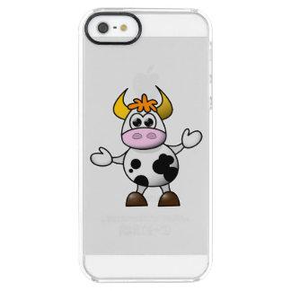 Svartvit kotjur för utdragen tecknad clear iPhone SE/5/5s skal