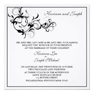 Svartvit krusidullbröllopinbjudan fyrkantigt 13,3 cm inbjudningskort