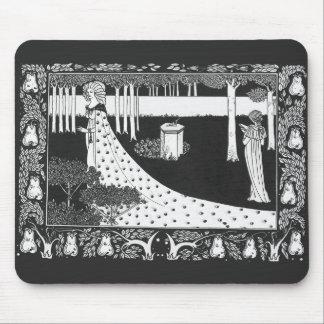 Svartvit kvinna för Beardsley art nouveau Musmatta