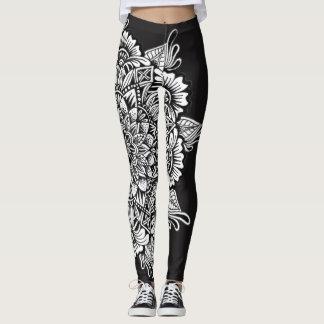 Svartvit Mandala Leggings