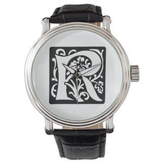 Svartvit medeltida Monogram för brev R Armbandsur