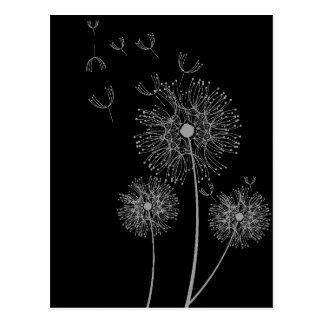 Svartvit modern blom- konst för maskros vykort