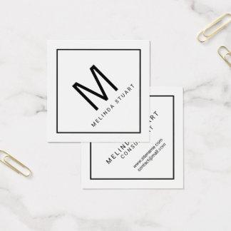 Svartvit modern Monogram Fyrkantigt Visitkort