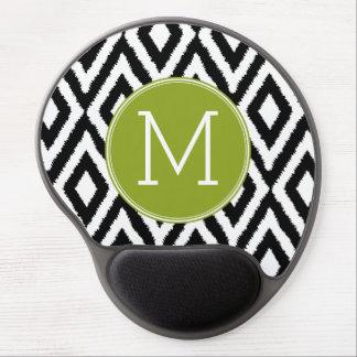Svartvit Monogram för Ikat stam- mönstergrönt Gel Musmatta