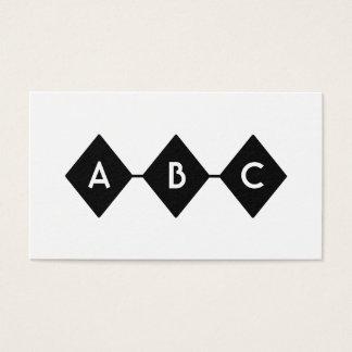 Svartvit Monogram för tre diamanter Visitkort