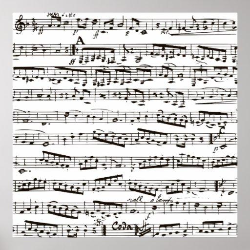 Svartvit musik noter affischer