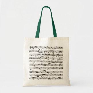 Svartvit musik noter tygkasse