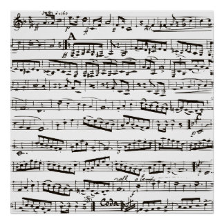 Svartvit musik noter poster
