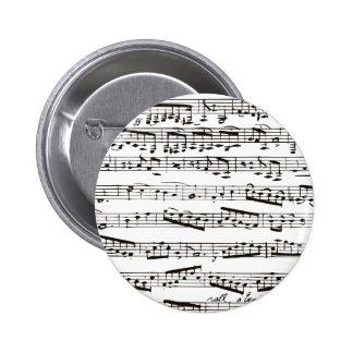 Svartvit musik noter standard knapp rund 5.7 cm