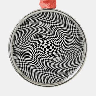 Svartvit optisk illusion julgransprydnad metall