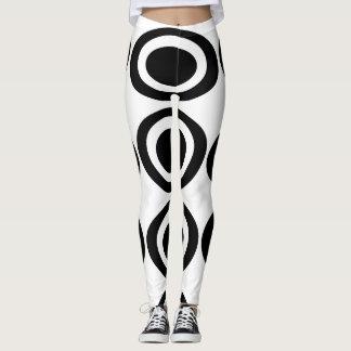 Svartvit oval designdamasker leggings