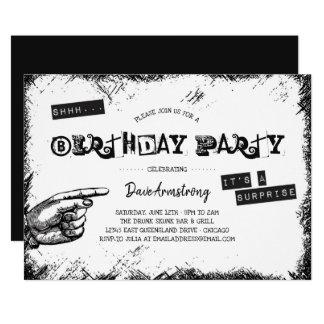 Svartvit överrrakningfödelsedagsfest för Grunge 12,7 X 17,8 Cm Inbjudningskort