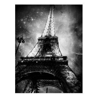 Svartvit Paris vykort, det Eiffel torn Vykort