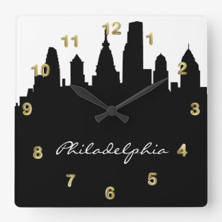 Svartvit Philadelphia horisont Fyrkantig Klocka